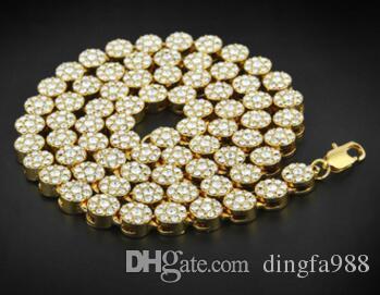 18K Gold überziehen Qualitätsmänner runde einreihige Halskette Hip-Hop vergoldete all-Diamant-Halskette