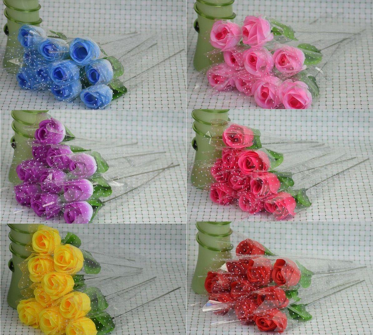 """100pcs rosor artificiella 7 färger silke blomma bröllop brudbukett hem dekoration 2.3 """""""