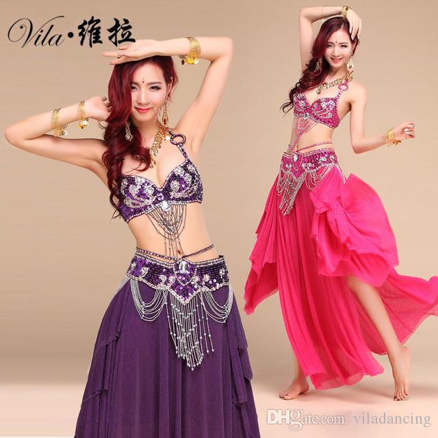 Novo Estilo Traje de Dança Do Ventre S / M / L 3 pcs BraBeltSkirt Sexy Dança mulheres dança roupas Conjunto bellydance desgaste Indiano para senhora