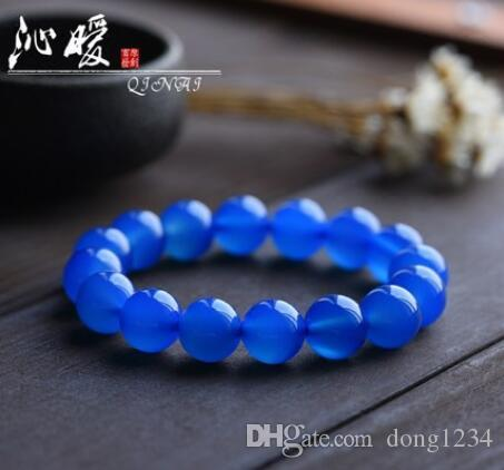 Natural blue agate bracelet blue chalced hand string men and women models crystal rosary fashion couple jewelry