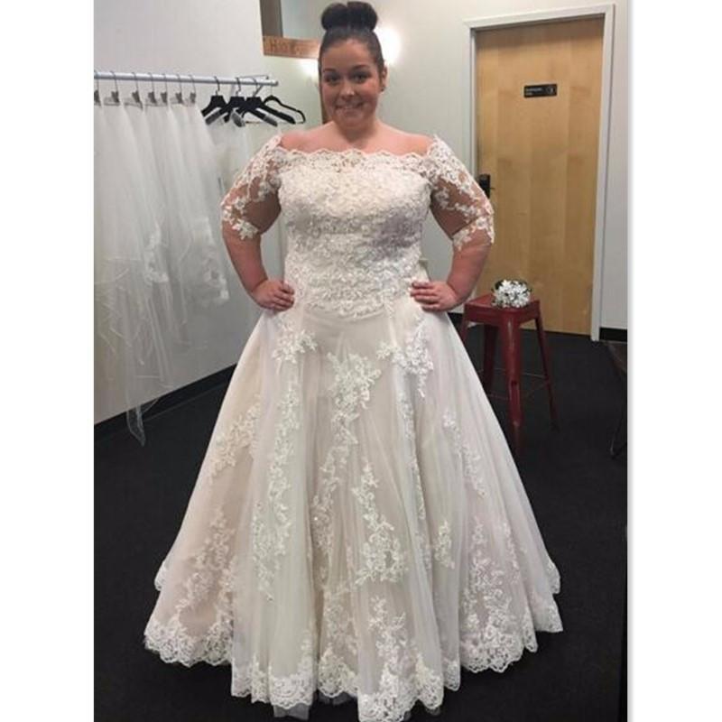 Discount Plus Size Wedding Dresses 2017 Lace Off The Shoulder Half Sleeves  A Line Maxi Women Bridal Gowns Big Size Formal Vestidos De Novia Slim A ...