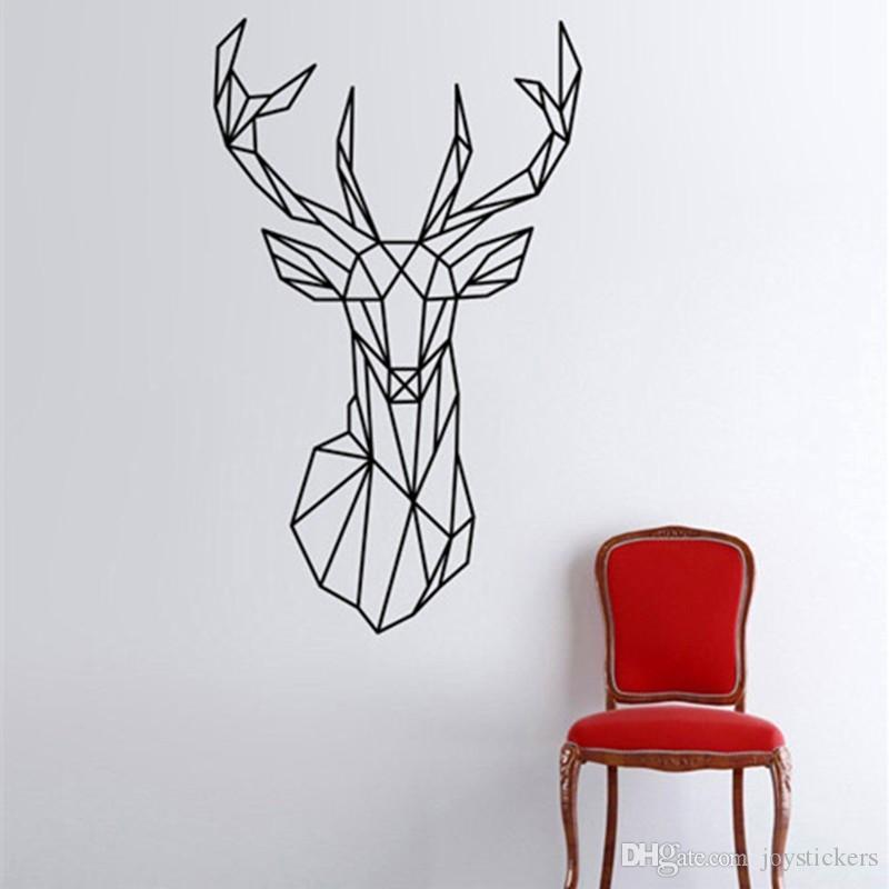 Couleur au Choix Géométrique Cerf Tête et Bois Autocollant Mural Vinyle Art