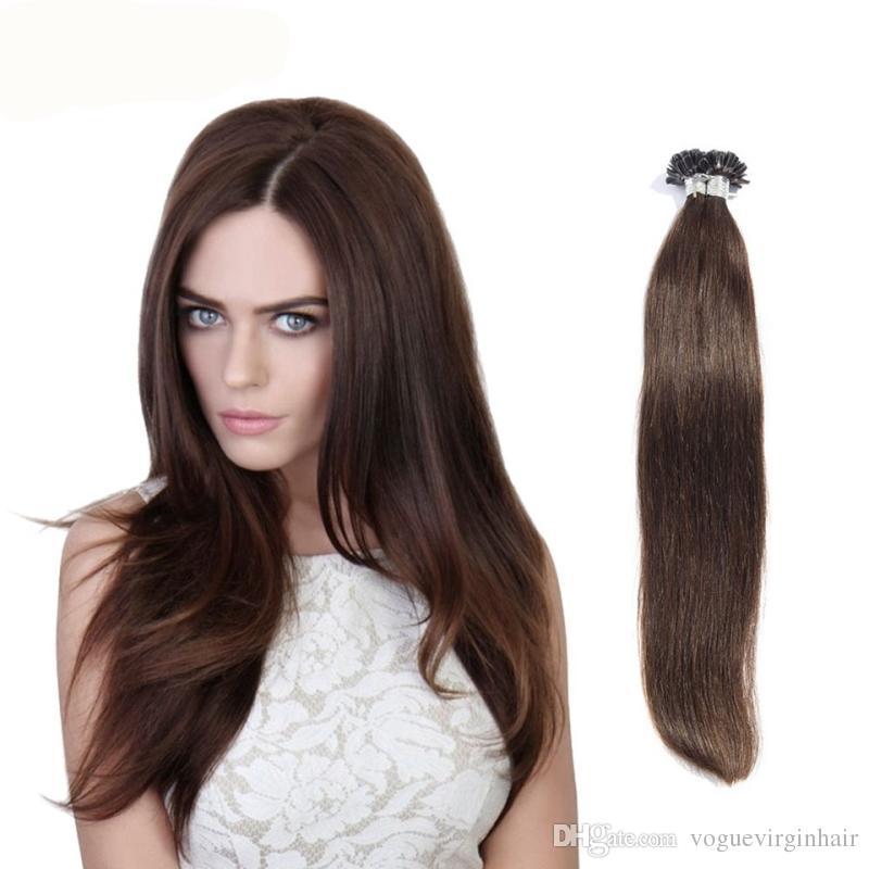 0.5g / strand Nail U Tip Pre-Bonded Keratin Glue Extensiones de cabello humano natural 100 strands 16inch - 26inch Extensiones de cabello humano real