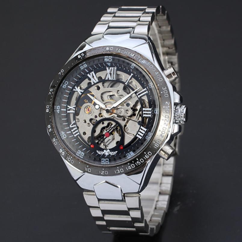 도매 - 우수한 품질 새로운 디자인 시계 브랜드 컬러링 중공업 자동 기계식 시계 남자 해골 수영 시계 방수