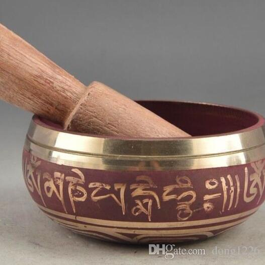 88mm Sammlung Tibet Chinesische Alte Kupfer Vocal Buddha Schüssel Antiken Garten Dekoration Silber Messing