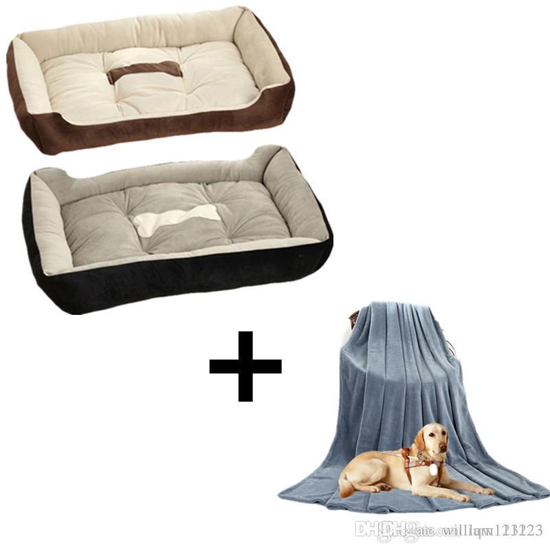 45x30cm Haustiere Betten + 70x100cm Grau Haustier Decke Sommer Hunde-Kissen-weich Dog House 15cm Thick Hundesofa Baumwolle Pet Betten Haustiere Mats Katzen Bett