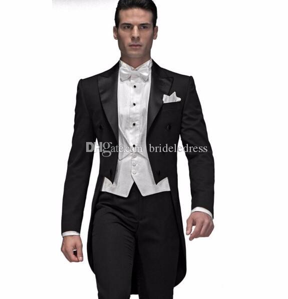 Suits Prom de casamento do noivo Homens Groomsman fraque preto feito sob encomenda (Jacket + calça + Vest + laço)