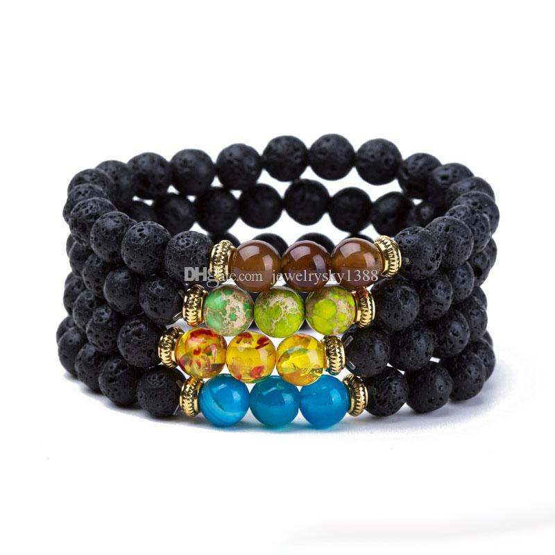 Commercio all'ingrosso New Natural Black Lava Stone Bracciali Reiki Chakra Healing Balance Beads Bracciale per uomo donna Stretch gioielli Yoga