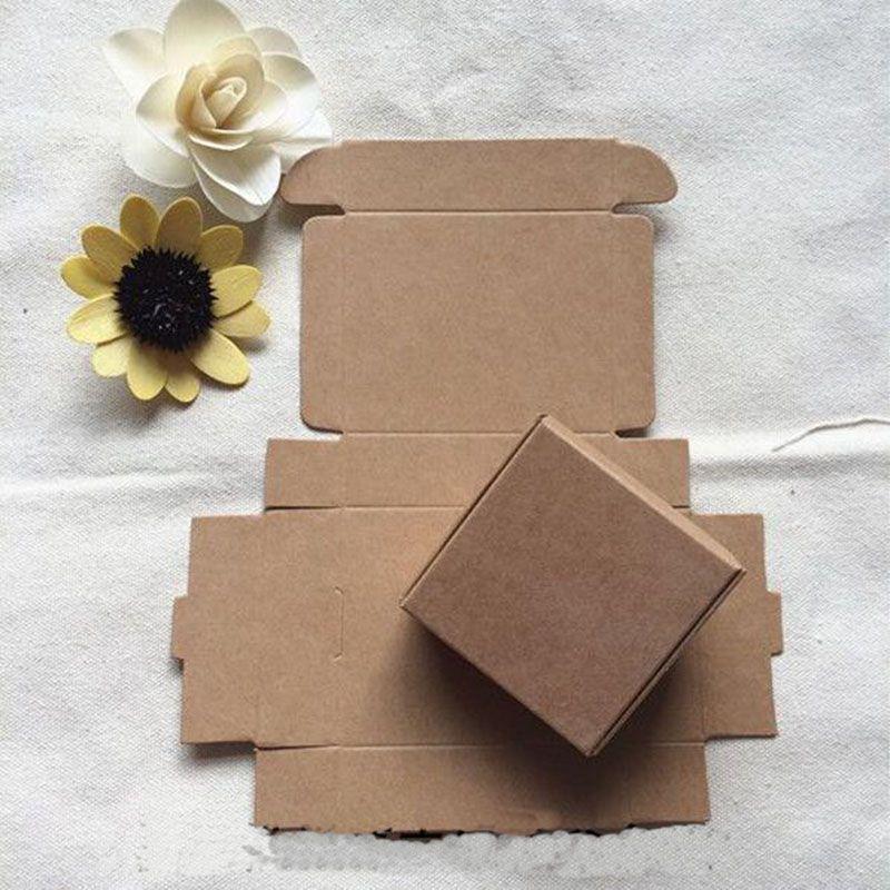 7.5X7.5x3CM Scatole per imballaggio in cartone di carta kraft marrone piccolo per accessori per telefono per dolci da matrimonio