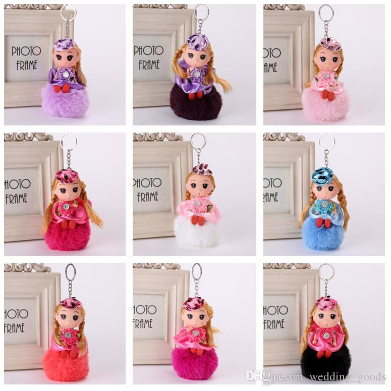 New arrival Doll hair ball key holder doll pendant fur bag pendant doll hair ball key chain KR357 Keychains mix order 20 pieces a lot