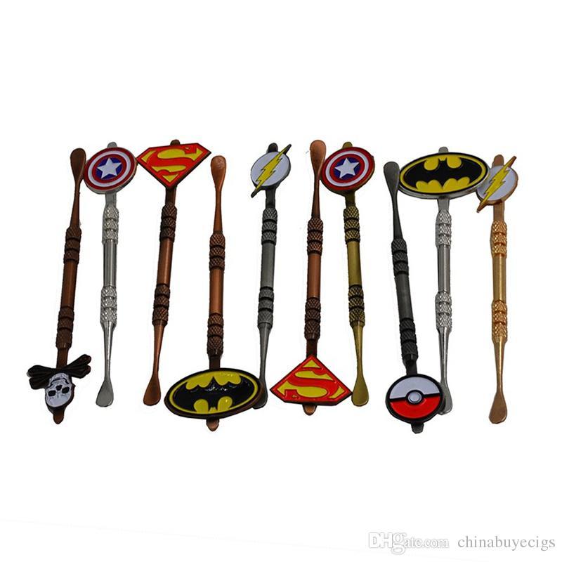 Hot Sale Wax Dabber tool with Pokeball Batman Captain superhero Flash and Skull Design stickers wax jar Dab tool 5 colors 120mm free ship