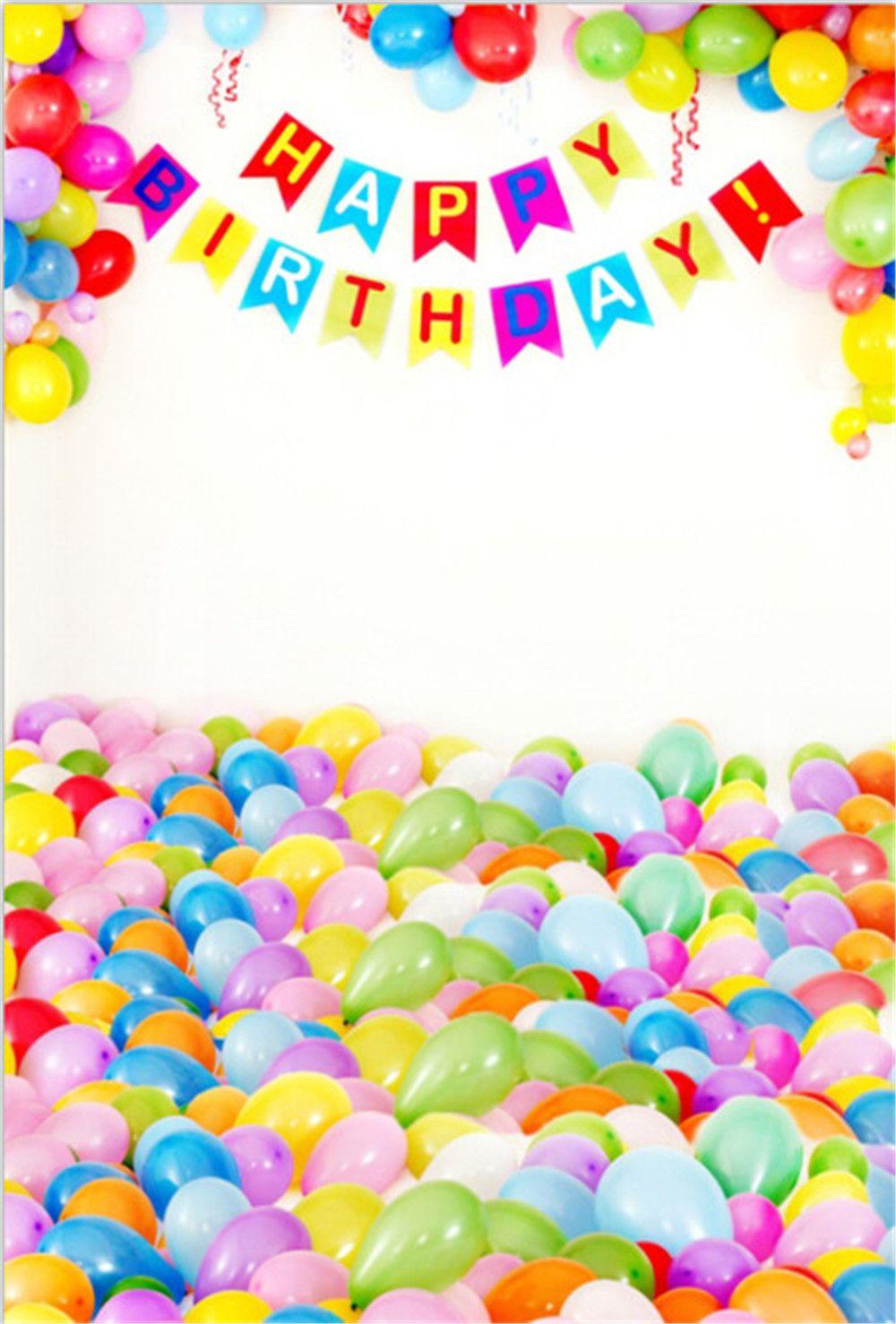 Ballons colorés Joyeux anniversaire Photographie Décors Vinyle Tissu Bébé Nouveau-Né Accessoires Photo Studio Photo Portrait Fond Photographique Fond
