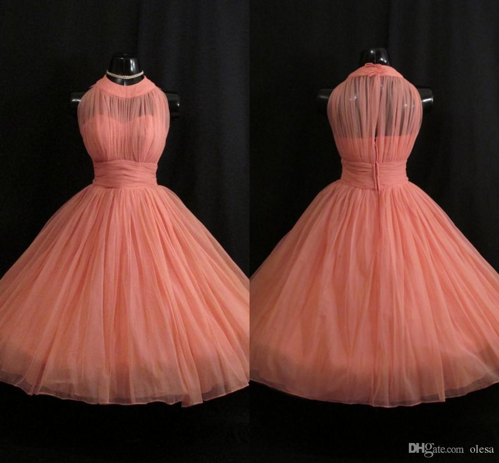 Coral bridesmaid dresses 2017 vintage short prom dress uk pleated coral bridesmaid dresses 2017 vintage short prom dress uk pleated tulle junior bridesmaid gowns dress for girls maid of honor dresses 2018 from olesa ombrellifo Gallery