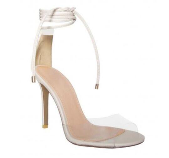 2017 sandalias de tacón delgado zapatos de vestir sandalias de fiesta de las mujeres zapatos de PVC pista abierta dedo del pie blanco gladiador sandalias