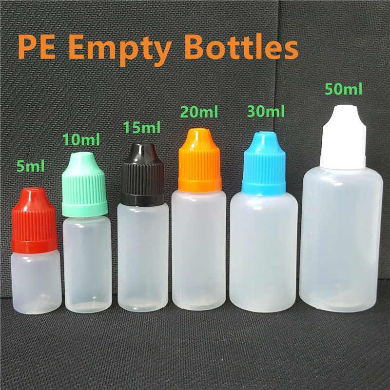 E Cig жидкие бутылки 5 мл 10 мл 15 мл 20 мл 30 мл 50 мл пустой капельница LDPE пластиковые детские колпачки длинные тонкие подсказки иглы для веруса