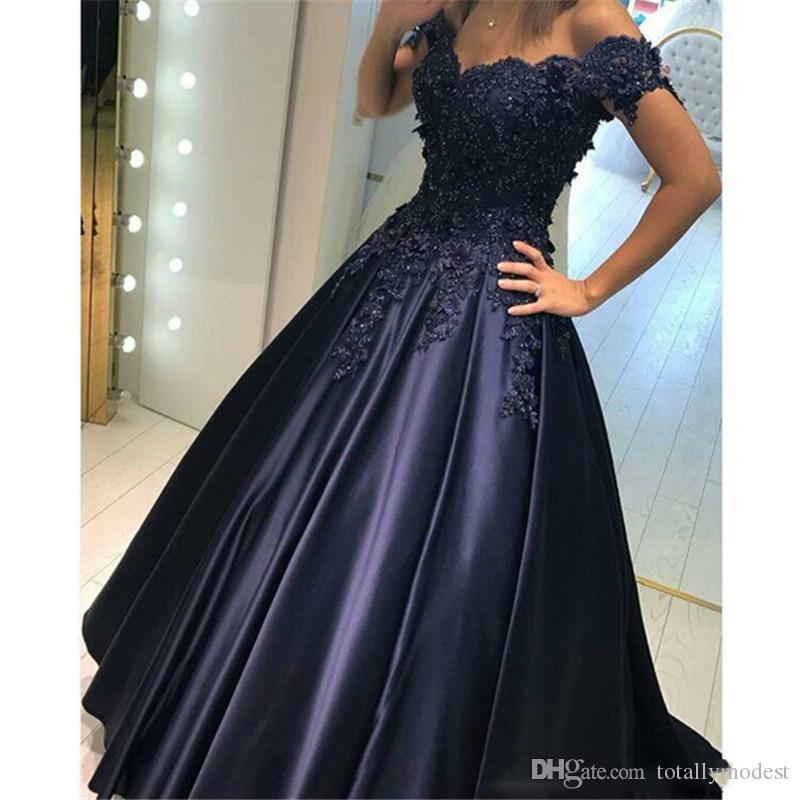 Ball Gown Navy Blue Arabic Wedding Dresses Off The Shoulder Beaded Lace Appliques Princess Colorful Bridal Gowns Non White Custom Canada 2019 From
