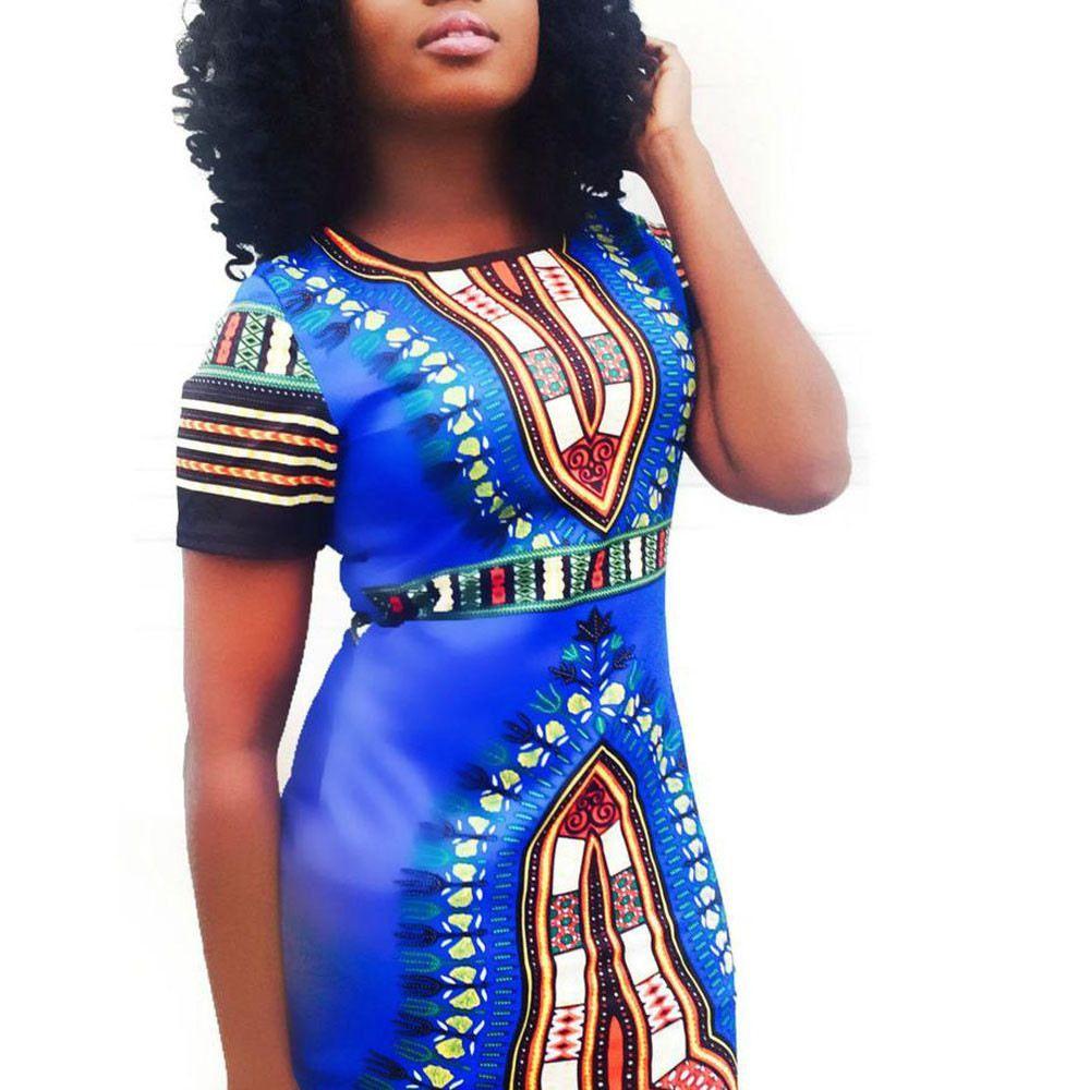 Vestidos Traditionnel Africain Floral Imprimé Robes Femmes Summer Lady Casual Crayon Robe Femmes Sexy Manches Courtes Robe De Fête