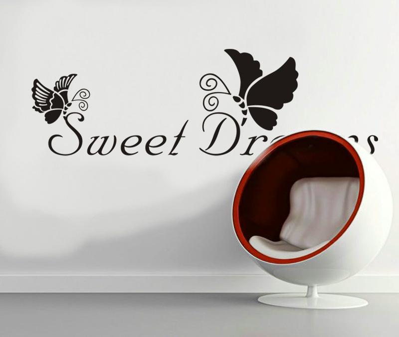 72x22cm Persnlichkeit Kreative Ssse Trume Schmetterling Englisch Text Muster Wohnzimmer Schlafzimmer TV Sofa Hintergrund Dekoration Aufkleber