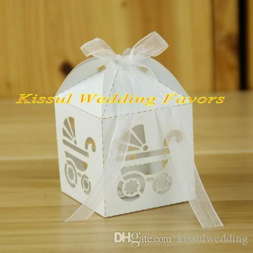 Set of 50 White Laser Cut Wedding Favor Boxes with Ribbon Lace Floral Party Baby Shower Birthday Favors Gift Box