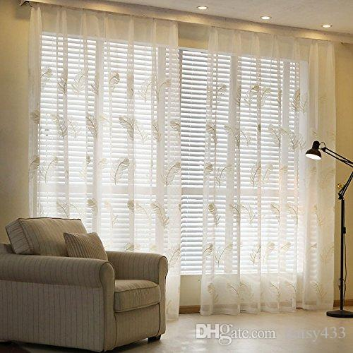 Sheer Curtains Machine Washable Beautiful Feather Pattern Embroidered Sheer Window Elegance Curtains Half Shading Fresh Sheer Screens Light