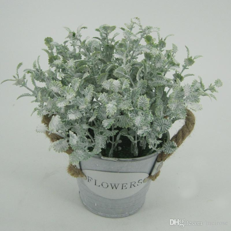 Artificial Grasses With Aluminum Plate Pots Table Flower Display Flower Green bonsai White Washed Potted plant for Home Decor 125 -1009