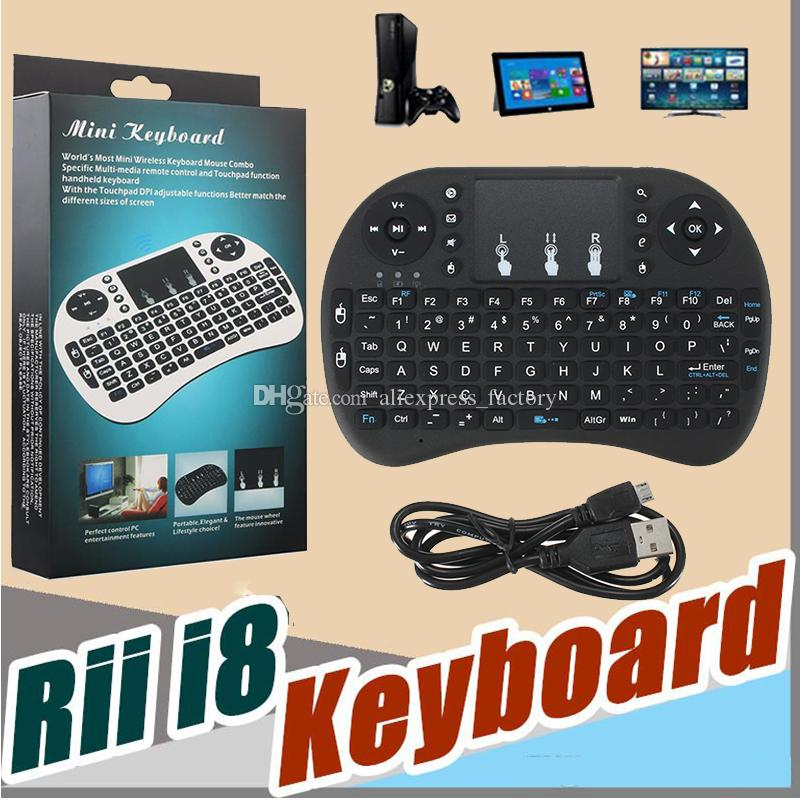 Mini Rii i8 Wireless Keyboard 2.4G English Air Mouse Keyboard Remote Control Touchpad For Smart Android TV Box HTPC MXQ Pro M8S X96 Mini PC
