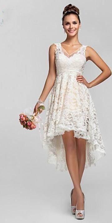 Vestido Para Madrinha Vintage Alta Baixa Renda Vestidos De Casamento Marfim V Neck Sem Mangas Frente Curto Longo Voltar Curto Nupcial Do Partido