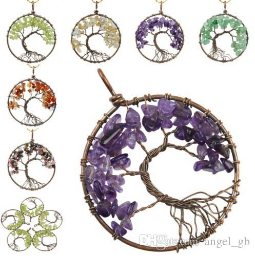 Antique Brass Plated Crystal Quartz Amethyst Opalite Rock Quartz Rose Quartz Tree of Life Chakra Pendant Charm Gemstone Jewelry
