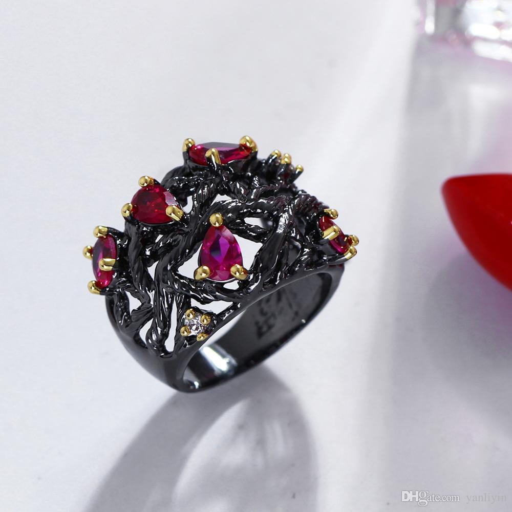 Новая мода! Teardrop рубин ювелирные изделия кольца Water Drop Stone Ring 2 Tone ювелирные изделия Уникальный дизайн коктейль кольцо