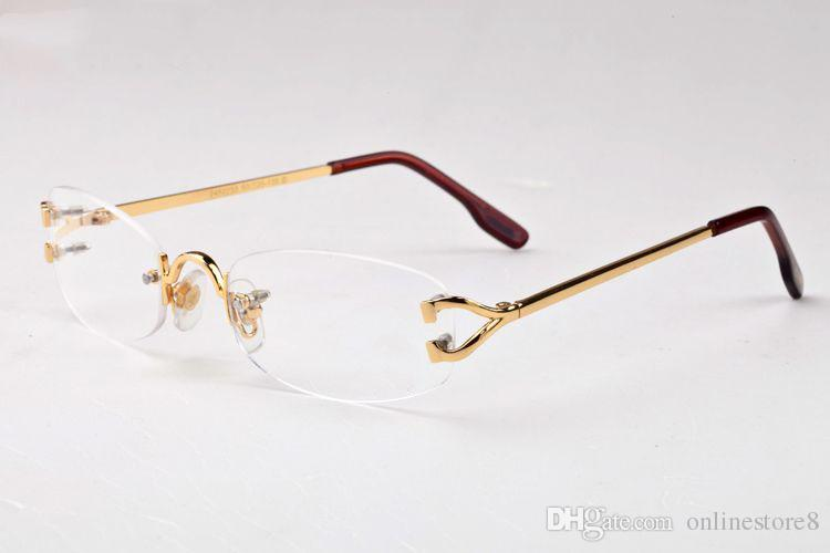 Óculos Óculos De Metal Sem Aro Frame para Homens Mulheres Óculos De Leitura De Ouro Prescrição Óculos Óculos De Sol De Grife com Caixa