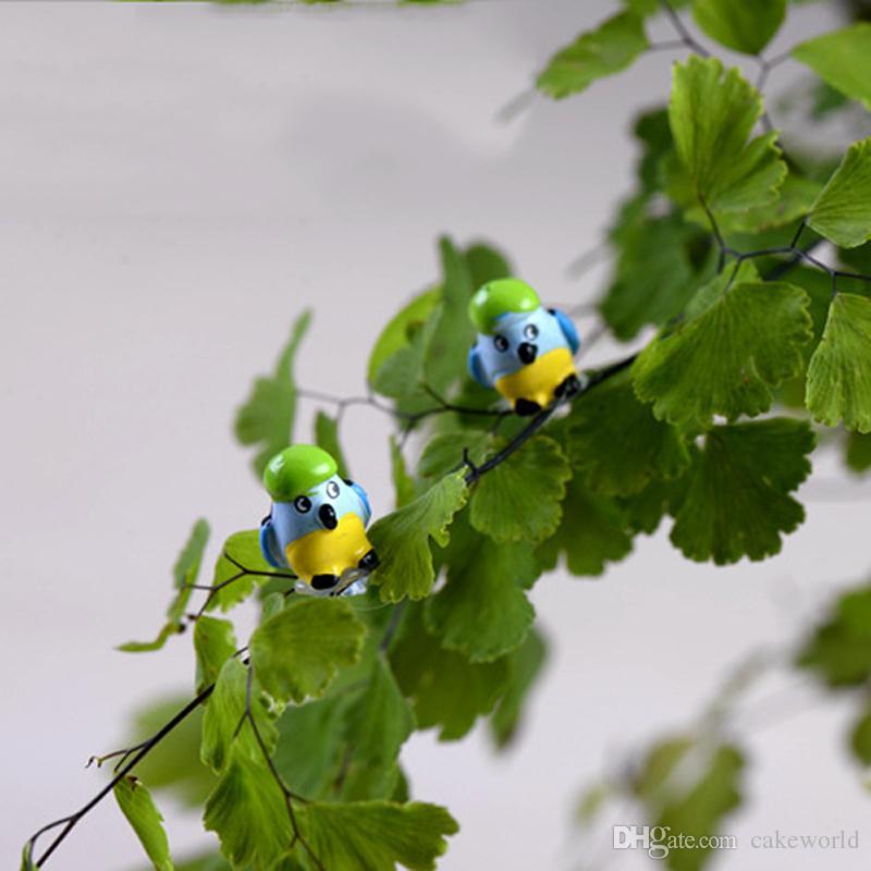 20 pz Simulazione Uccelli Mini Pappagallo Figurine Miniature Fairy Garden Jardin Gnomi Bonsai Terrario Mestiere Della Resina Decorazioni per la casa mestiere della resina