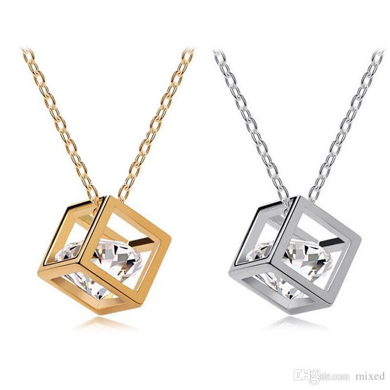 Gofuly NUOVO fascino Top donne di marca pendenti a catena berloque collana di cristallo della lega del pendente del rhinestone di cristallo del quadrato trasporto libero