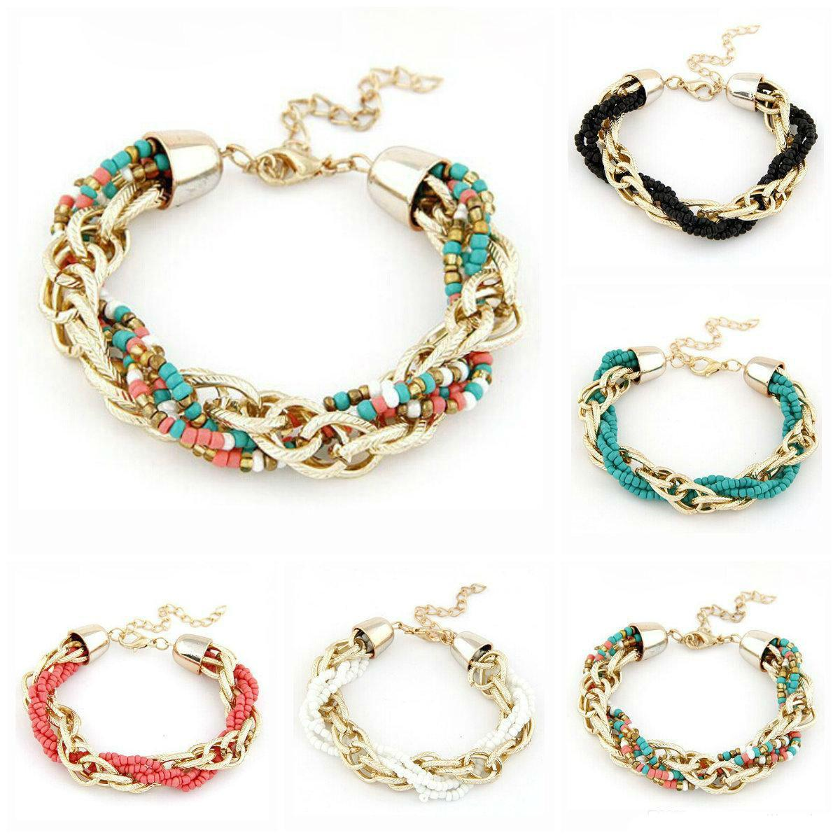 Braccialetti con ciondoli Bracciale con ciondolo a forma di perline fatto a mano in puro Boemia retrò per donna Braccialetti con perline di gioielli di moda multicolore