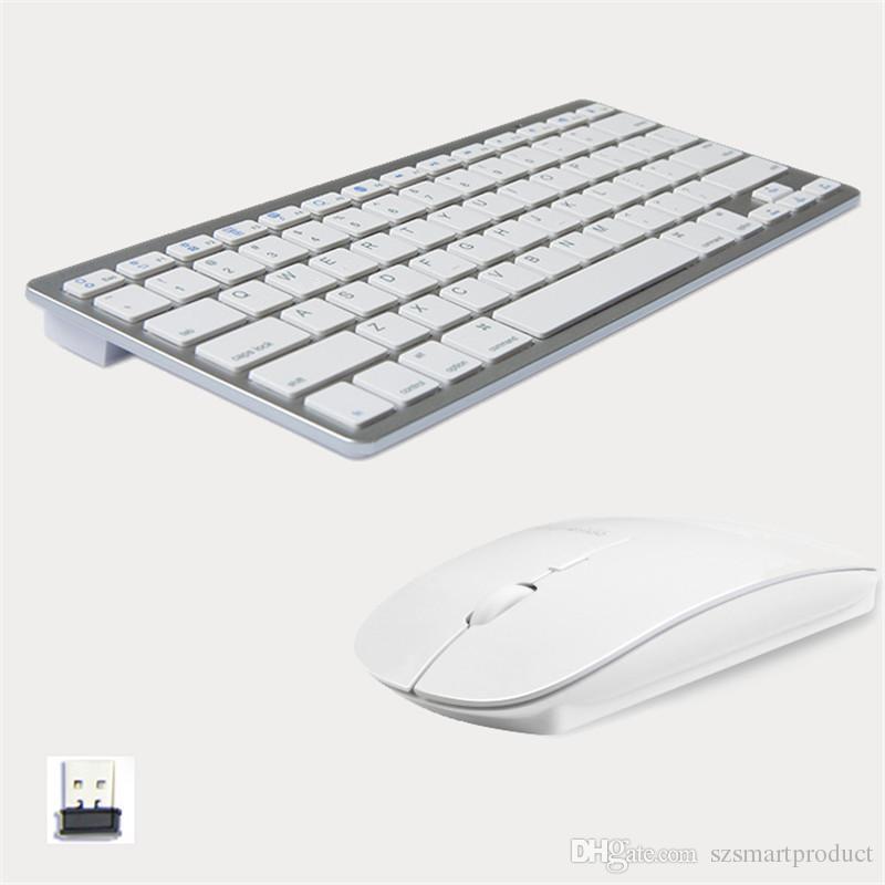 تصميم عصري 2.4G فائقة النحافة لوحة المفاتيح اللاسلكية والماوس كومبو كمبيوتر جديد اكسسوارات للحصول على أبل ماك كمبيوتر ويندوز XP الروبوت مربع التلفزيون