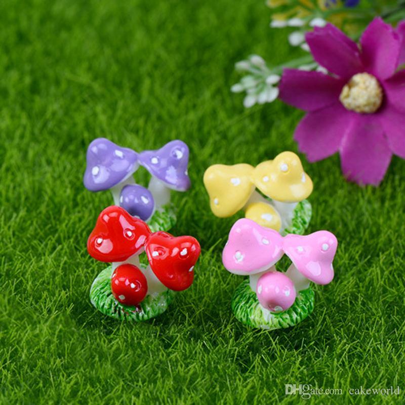 10pcs Mushrooms resin garden gnomes mini garden decoration micro landscape tree home decor miniatures