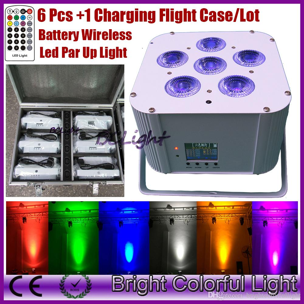 6pcs +1 fly case +2 transmitters 6pcs*18w RGBWAUV Colorful Bright led wedding battery wireless dmx led up lighting/wireless dmx led par
