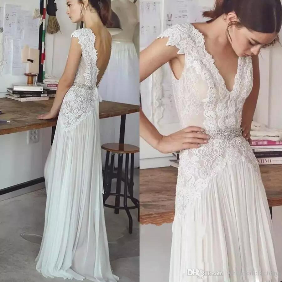 Böhmen Long Chiffon Bröllopsklänningar med Sash Lace Flow Beach Bröllopsklänning Deep V Neck Backless Boho Bridal Dresses Vestidos