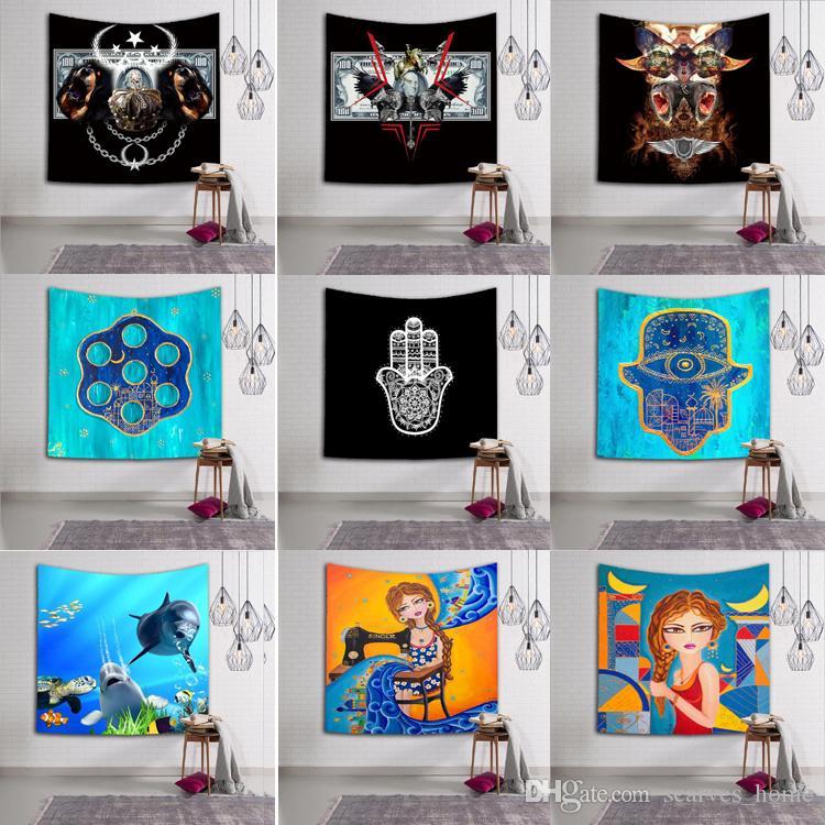 Hamsa Hand indischen Mandala Floral Wandbehang Tapisserie Strand Schal Meditation Yoga Mat Tagesdecke ethnische werfen Kunst floral Handtuch 4 Größen 18Desi