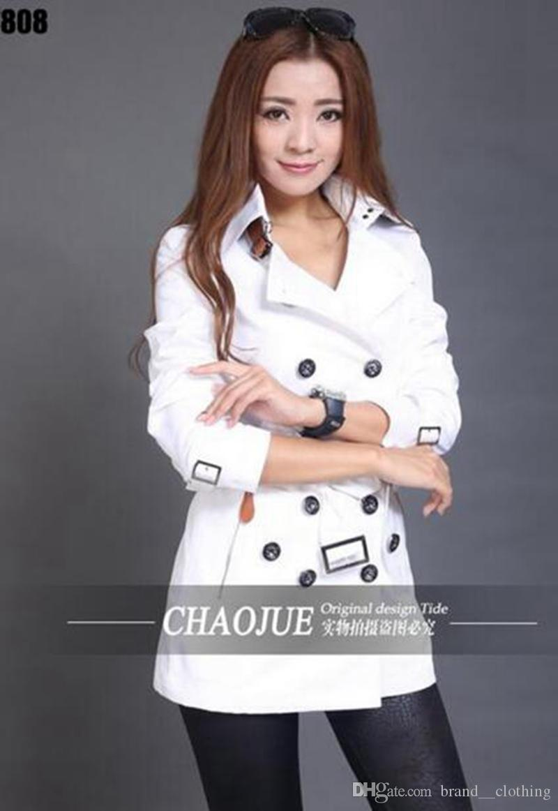 Mulher do período da primavera e do outono e a edição han da moda na Europa e o elegante casaco longo de emenda / S-3XL