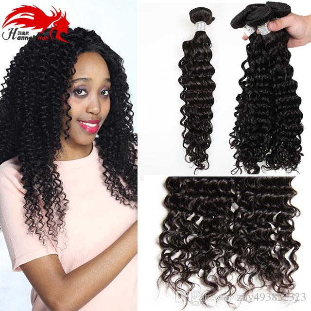 Estensioni capelli ricci profondi prodotto capelli Hannah Hannah Capelli vergini Brasiliano onda riccia profonda 3 fasci Tessuto arricciato