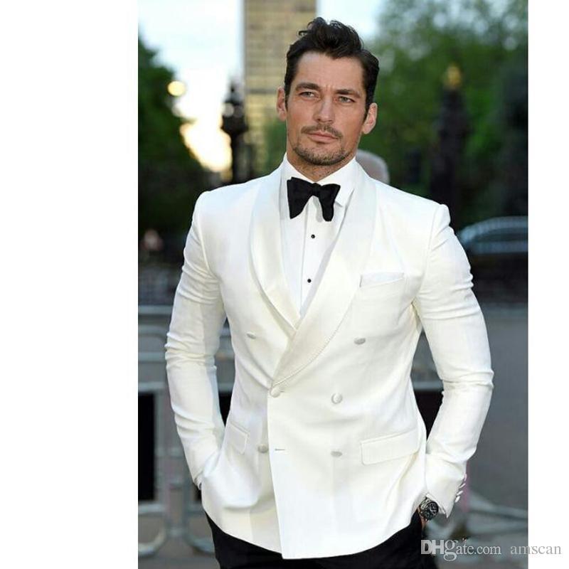 Выполненные на заказ белые официальные мужские костюмы для свадьбы двубортный платок отворот Лучший мужской костюм смокинги жениха костюмы (куртка + брюки)