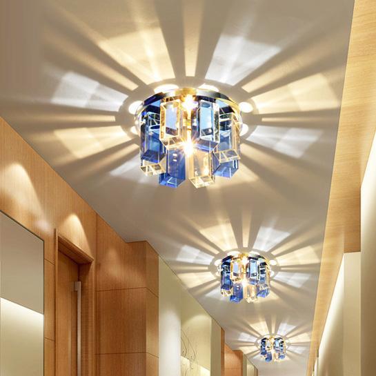 Crystal Sunflower 3W LED Corridor Lámpara de techo lineal Flor cristalina KTV Techo Montaje al ras Arañas Lámparas Pasillo Balcón Foco de techo