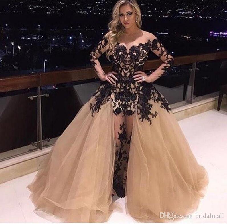 Zien via champagne tule avondjurken afneembare trein zwart geappliceerd formele feestjurken lange mouw zeemeermin prom jurken beroemdheid