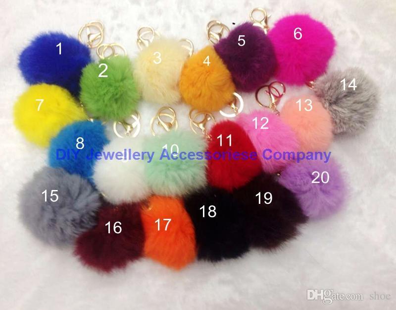 DHL free mixed Cute Genuine Leather Rabbit fur ball plush key chain for car key ring Bag Pendant car keychain