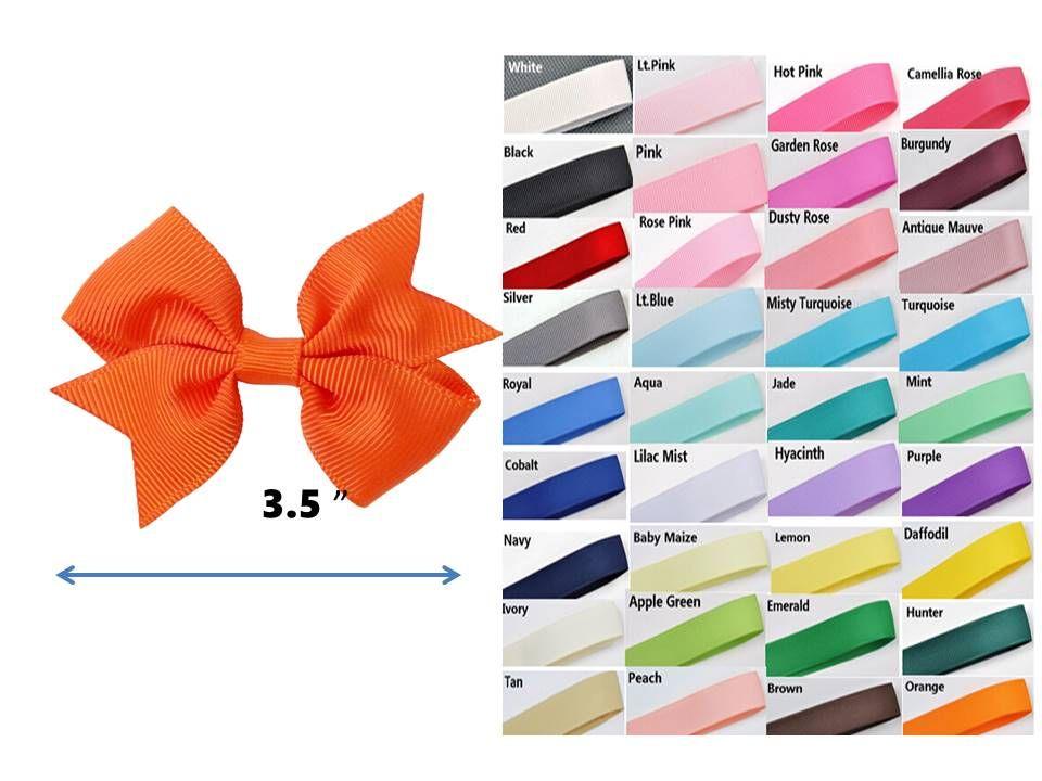 """3,5"""" Boutique clipes pinwheel laço de fita cor sólida Grosgrain arco de cabelo acessórios de Crianças 100pcs"""