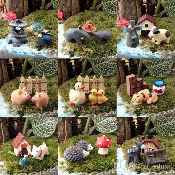 30 stücke (10 satz Verschiedenen Tier) dekoration zubehör Bonsai Werkzeuge Fairy Garden Miniaturen Kunst Puppenhaus Ornamente Terrarium Figuren