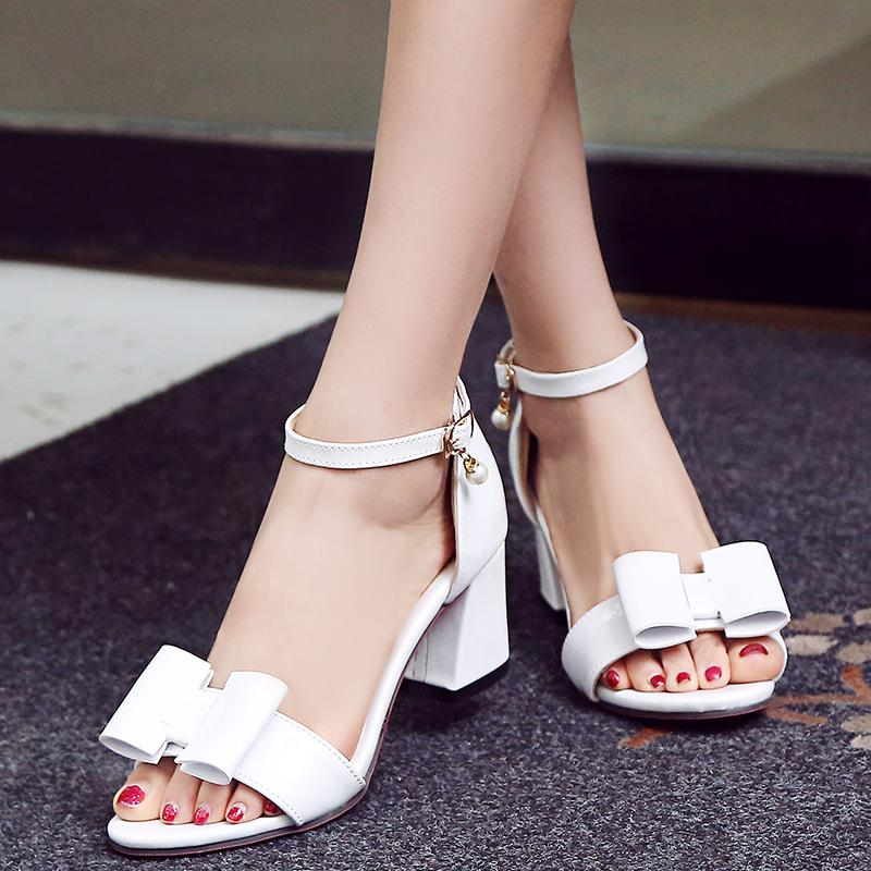 The thick comfortable size with high-heeled sandals hollow girl, white 37