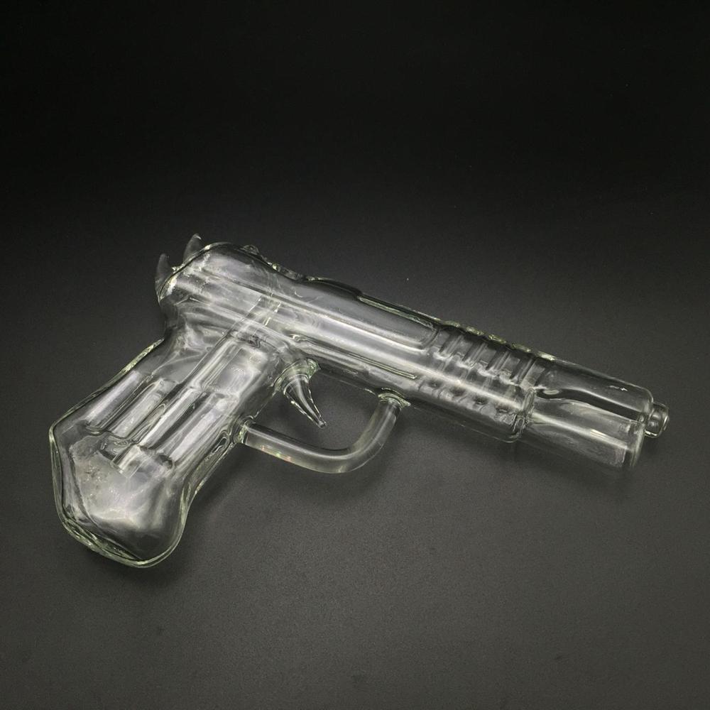 3 Colors Pistol Glass Water Pipes Gun Smoking Pipe Glass Bong Hookah Wax Pen for Dry Herb Vaporizer