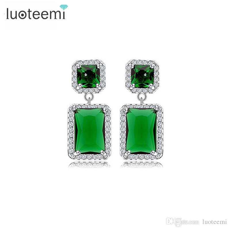 Европейский стиль 3 Выбор цвета Женщины элегантный два квадратных серьги Кристалл кубический Циркон свадебные украшения оптом LUOTEEMI