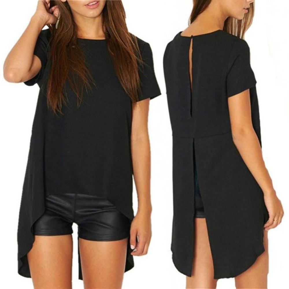 CALIENTE Nueva Señoras de Las Mujeres Sexy Alta Baja Camiseta de Algodón Vestido de Verano Casual Corte Suelto Vintage Negro Club Party Vestido Más Tamaño Z2